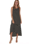 front of Hi-Lo Tank Dress with Ruffled bottom in black and white stripes