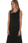 side of Hi-Lo Tank Dress with Ruffled bottom in black