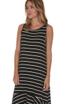 side of Hi-Lo Tank Dress with Ruffled bottom in black and white stripes