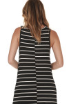 back of Hi-Lo Tank Dress with Ruffled bottom in black and white stripes