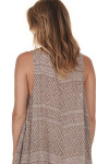 back image basic tank look print features taupe background with purple & white dots all over