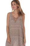side image of Printed Lace Up Tank Mini Dress in taupe Combo
