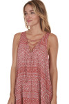 side image of Printed Lace Up Tank Mini Dress in brick Combo