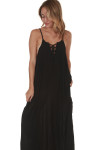 Lace Up Black Maxi w/ Pockets in black
