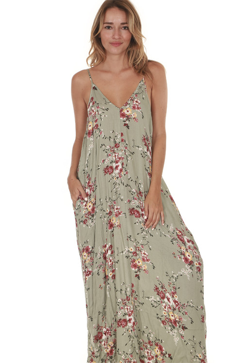 Mint Floral Maxi Dress in Moss combo side pockets wider fit print features mint/moss color background with pink and yellow flowers all over for details call toll free 855-597-0313