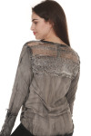 back of Twist of Fate long sleeve tee in grey/black pre-worn wash netting & embroidery detailing at back top shoulders along back