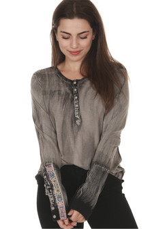 front of Twist of Fate long sleeve tee in grey/black pre-worn wash contrasting button up bottom sleeves with henley style button up neckline
