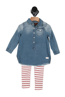 Denim tunic top in faded denim with snap closure at front and long sleeves red and white horizontal striped leggings