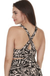 back of printed city slicker bra in black combo print print features black background with ivory and light peach flowers criss cross back straps