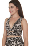 side of printed city slicker bra in black combo print print features black background with ivory and light peach flowers deep V front with slight cut out at band