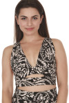 front of printed city slicker bra in black combo print print features black background with ivory and light peach flowers deep V front with slight cut out at band