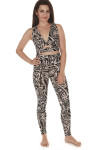 full body shot of full set (sports bra and leggings) both items print features black background with ivory and light beach floral design