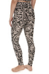 back of Printed City Slicker Legging in black combo print print features black background with ivory and light beach floral design very high waisted, skinny legging