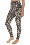 side of Printed City Slicker Legging in black combo print print features black background with ivory and light beach floral design very high waisted, skinny legging