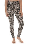 front of Printed City Slicker Legging in black combo print print features black background with ivory and light beach floral design very high waisted, skinny legging