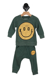 Kool Fleece Jogger Pant set in green with large yellow smiley face at front on sweater and small yellow smiley face patch at front left leg on jogger pants
