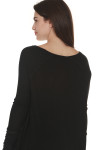 back of Laguna Thermal Long Sleeve top in black color. over sized fit