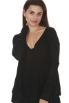 front of Laguna Thermal Long Sleeve top in black color. over sized, v-neck line fit