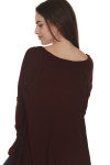 back of Laguna Thermal Long Sleeve top in wine color. over sized fit
