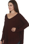 side of Laguna Thermal Long Sleeve top in wine color. over sized, v-neck line fit