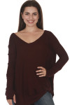 front of Laguna Thermal Long Sleeve top in wine color. over sized, v-neck line fit