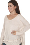side of Laguna Thermal Long Sleeve top in sand color. over sized, v-neck line fit