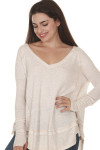 front of Laguna Thermal Long Sleeve top in sand color. over sized, v-neck line fit