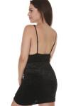 back of Viper Velvet bodycon mini dress in black very low back adjustable straps