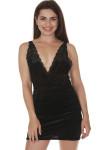 font of Viper Velvet bodycon mini dress in black low v-neckline front short hemline