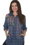 Front of Colorado Azure River Plaid Blouse long sleeves, side pockets, button up front, applique flowers at right side front with left breasted pocket plaid is in mainly blue with green & white striping