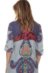 back of Milly Tunic Button Up Shirt  contrasting back shoulder print has purple lace with fuschia see-through floral print