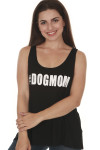 front of #DOGMOM Tank in black. features looser fit, scoop neckline and #DOGMOM in white writing at front.