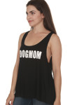 side of #DOGMOM Tank in black. features looser fit, scoop neckline and #DOGMOM in white writing at front.