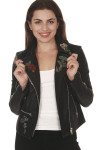 front of Vegan Leather Moto Jacket with Embroidery in black silver hardware with light pink, red & purple embroidered roses all over front