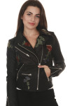 front of Vegan Leather Moto Jacket with Embroidery in black silver hardware with light pink, red & purple embroidered roses all over front  zipper front