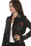 side Vegan Leather Moto Jacket with Embroidery in black silver hardware with light pink, red & purple embroidered roses all over front