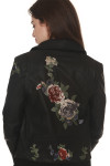 back Vegan Leather Moto Jacket with Embroidery in black large pink, purple & red rose embroidered at center back