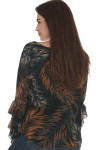 back of Midnight palm long sleeve blouse  print is black background with blue, white and orange palm leaves all over worn with denim jeans