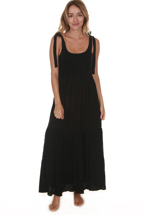 front of Doe Smock Tank Maxi Dress in black stretchy smocked top with bottom tiered skirt