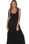 front of Doe Smock Tank Maxi Dress in black stretchy smocked top with bottom tiered skirt self-tying straps