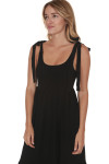 side of Doe Smock Tank Maxi Dress in black stretchy smocked top with bottom tiered skirt self-tying straps