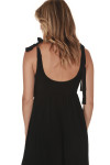 back of Doe Smock Tank Maxi Dress in black stretchy smocked top with bottom tiered skirt self-tying straps