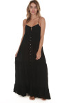 front of Abbie Button Front Solid Maxi Dress in black entire front is button up with tiers