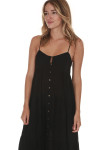 side of Abbie Button Front Solid Maxi Dress in black entire front is button up with tiers