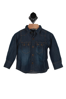 front has dark denim material with slight fading at stomach area, collar, darker rust stitching, button up closure and 2 breast pockets