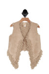 front of vest has longer draped collar with tan faux suede material on outside and tan faux fur material on inside