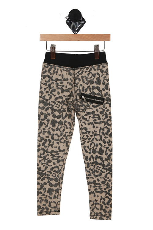front has black elastic waistband with zipper detail at left thigh and rest of fabric is a leopard print.