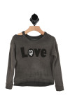 "front of sweater has ""LOVE"" written in black with peace sign letter O. Cut out at right shoulder, vintage wash in grey/black"