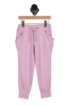 front image of vintage wash slouch drawstring pants in pink elastic top waistband, drawstring top with front pockets & cuffed ankle bottoms