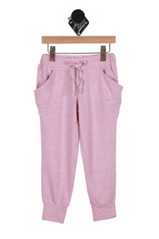 front image of vintage wash slouch drawstring pants in pink elastic top waistband, drawstring top with front pockets & cuffed ankle bottoms.